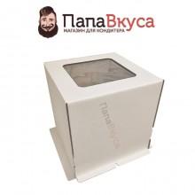 Коробка для торта из гофрокартона  с окном  420*420*450 мм