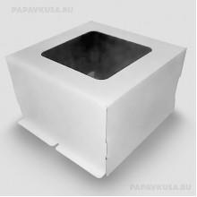 Коробка с окном для торта 300*300*190 мм (гофра)